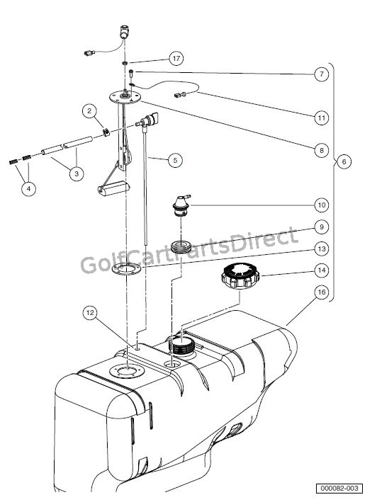 Fuel Tank With Fuel Level Sending Unit Club Car Parts