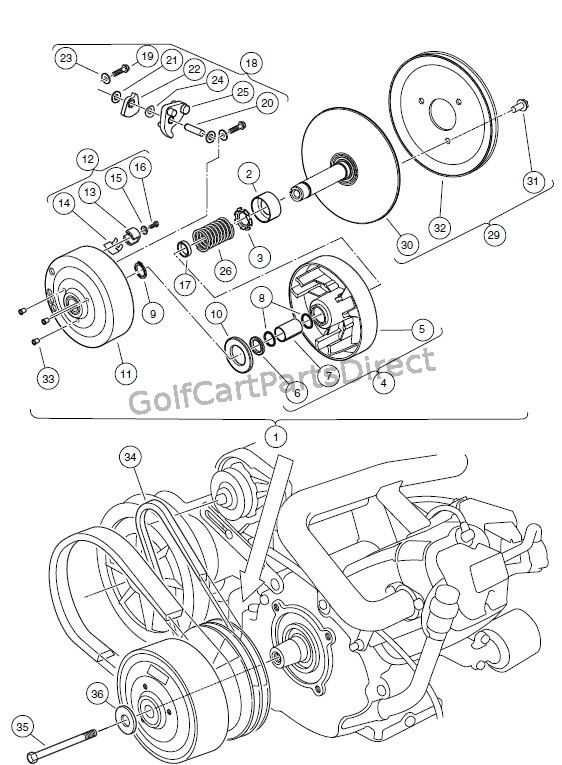 Ezgo Driven Clutch Diagram