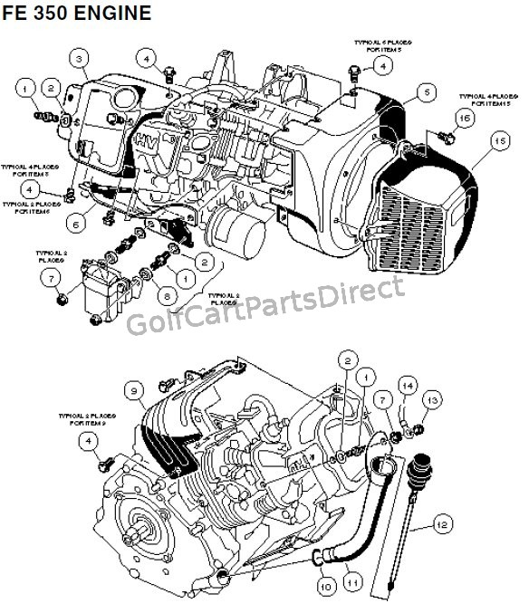 FE 350 Engine - Carryall 2 plus and 6 Part 1 - Club Car parts ...