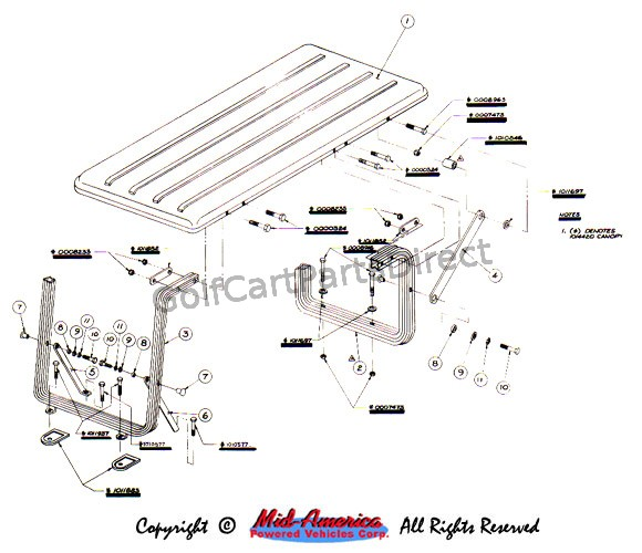Canopy 4 Passenger Club Car Parts Accessories