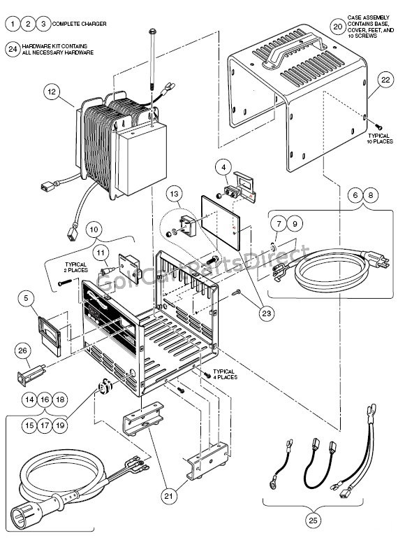 Charger Powerdrive 3 Club Car Parts Accessories Cart Battery Wiring Diagram For: Cat 3 Wiring Pattern At Johnprice.co