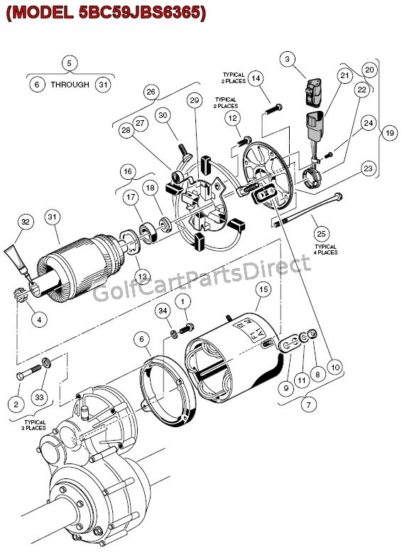 club car motor diagram electric motor - (model 5bc59jbs6365) - golfcartpartsdirect club car motor schematic diagram