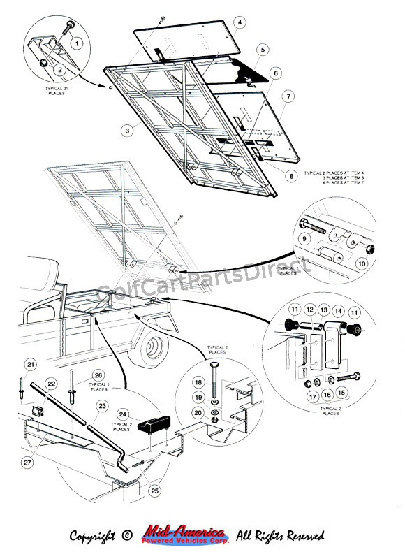 1998 1999ClubCarGasElectric in addition Body Rivet Kit For Ezgo Txt 1994 Up moreover Index as well Wire Harness Precedent Bucket Harness moreover CC BrakeEqualRod. on club car golf cart rear body trim